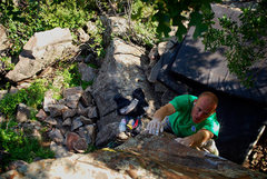 Rock Climbing Photo: Wiley enjoying a nice warm up at Morrison.
