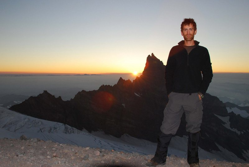 Rock Climbing Photo: Sunrise above Camp Muir on Mt. Rainier