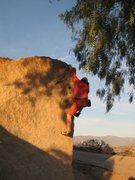Rock Climbing Photo: Cornerstone Lefthand (V0-), Mt. Rubidoux.