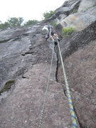 Rock Climbing Photo: The upper crack of PTSY.  Note the lichen on the r...