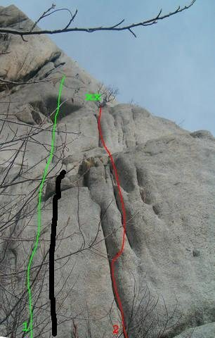 Rock Climbing Photo: Black line = Sweet new grid bolt route on lcc gran...