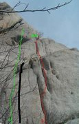 Black line = Sweet new grid bolt route on lcc granite.