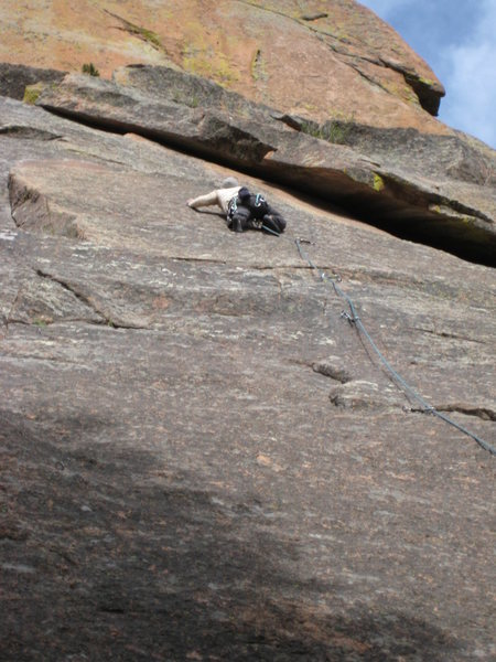 "Rock Climbing Photo: Seth at the blank ""10a"" crux."