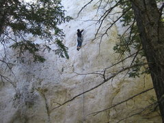 Rock Climbing Photo: More nice pockets on the upper wall. Interesting c...