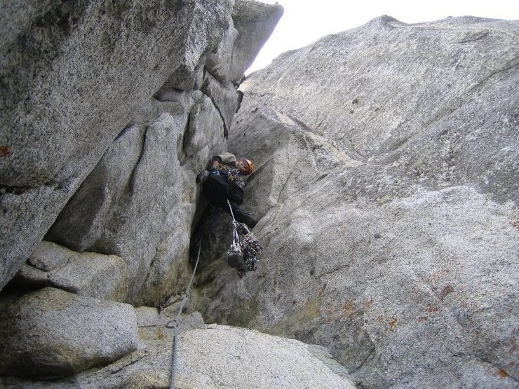 Rock Climbing Photo: Negotiating the Wilson Overhang. Climbing is easie...