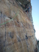Rock Climbing Photo: Carter leading Airy Aria.  What an awesome route!