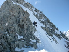 Rock Climbing Photo: Some rock, some snow/ice at 9,000 ft on the East R...