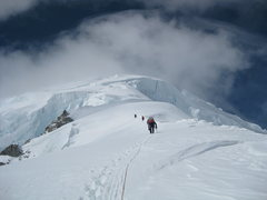 Rock Climbing Photo: Looking up the heavily-crevassed slopes above 12,0...