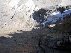 Rock Climbing Photo: Halfway up the offwidth-y pitch.  Henry waving to ...