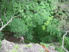 Rock Climbing Photo: Ned rapping in on unknown crag.  From this TR poin...