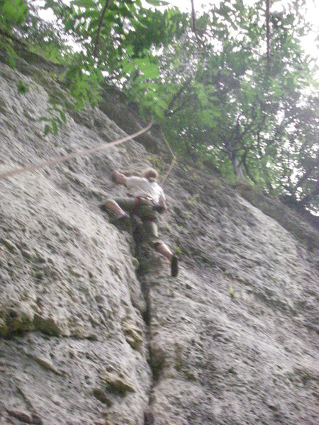 Ned TRing a nice crack.  Slightly overhung throughout, 2 or 3 different crux sequences, very fun climbing.  This is the double mono crux.
