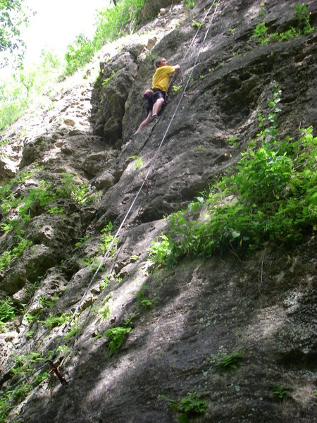 Rock Climbing Photo: Jonny on unknown route.  Rating, maybe 5.8, locati...