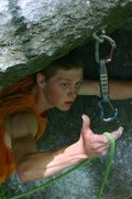 Rock Climbing Photo: otey makes the clip from the nook below the roof.....