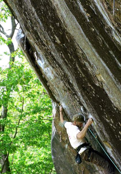 Rock Climbing Photo: Nate working his way through the viciously sustain...