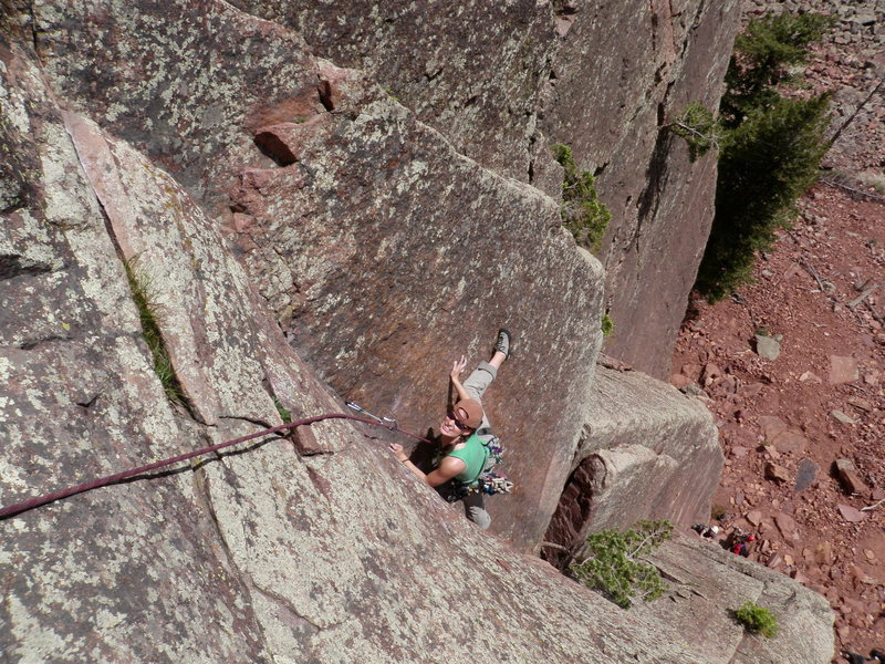 Rock Climbing Photo: April Wright flexing her guns as she enters the cr...