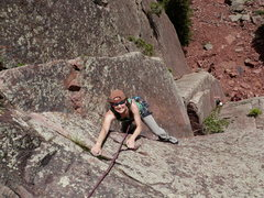 Rock Climbing Photo: April Wright looking happy with two big jugs in he...