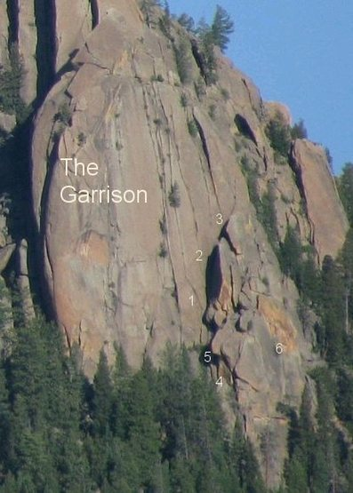 Rock Climbing Photo:  Climbs on the Garrison. 1) Hardgumbi's Lament 2) ...