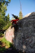Rock Climbing Photo: Tom bailing from the dishes. Afterwords, mosquitoe...