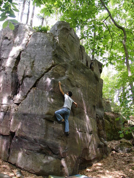 Rock Climbing Photo: RV moving up the sloper.