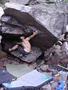 Rock Climbing Photo: A full extension move(not a good way to do the pro...