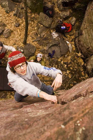 Rock Climbing Photo: In the crack near the top
