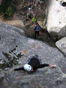 Rock Climbing Photo: Bob belays Renee on the 2nd ascent of Pooh's Honey...