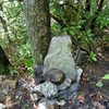 Cairn on trail marks the far left side of the Jim Pick Wall