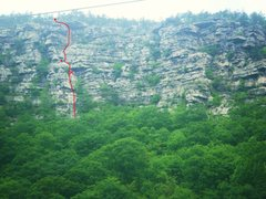 Rock Climbing Photo: The route Cumber Honey from the road below the cli...