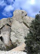 Rock Climbing Photo: Pork Chop climbs up this slabby face.