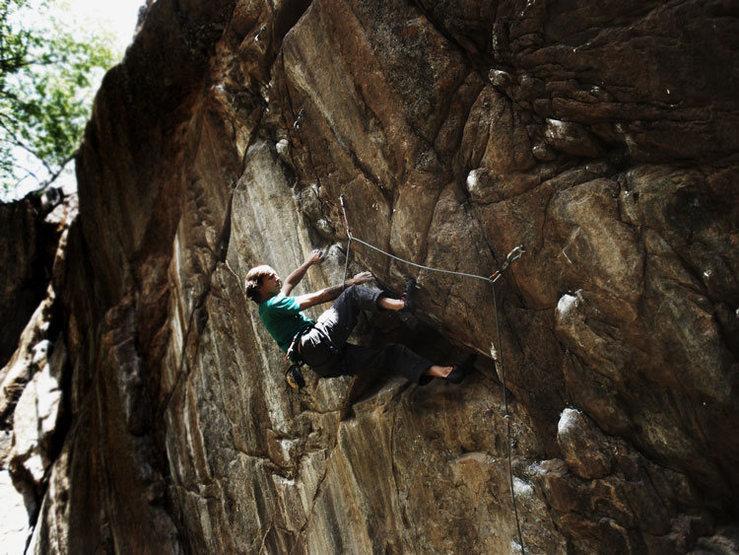 """The Road Less Traveled"", 13a/b.<br> Climber: Matt Lloyd.<br> Photo : Sky Weekes."