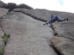 Rock Climbing Photo: Stemming it wide.