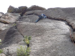 Rock Climbing Photo: At the crux.  A shorter climber wouldn't be able t...