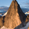 Snowpatch Spire basking in morning alpenglow, from Bugaboo Spire. Photo: Avery Nelson