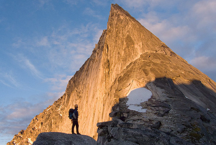Les M absorbing the awesomeness of Bugaboo's NE Ridge, on approach. Photo: Avery Nelson