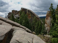Rock Climbing Photo: The Alien, on the right, as viewed from the saddle...