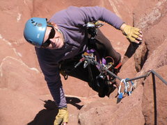Rock Climbing Photo: Amber jugging up Colorado ridge on her birthday.