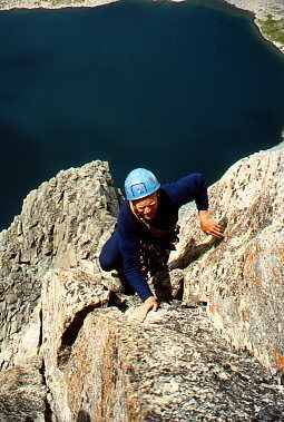 Eric Draper at the beginning of the upper arete.