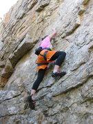 Rock Climbing Photo: Britt taking the rock head on