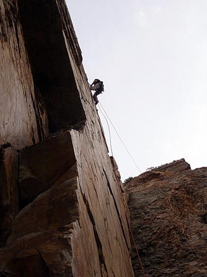 JB about to rappel off Goodro's