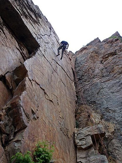 Rock Climbing Photo: Down he goes