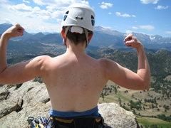Rock Climbing Photo: Julie on top of Batman Pinnacle