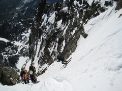 Rock Climbing Photo: A skier rippin down Dragonstail....
