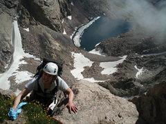 Rock Climbing Photo: Julie high up on Kieners