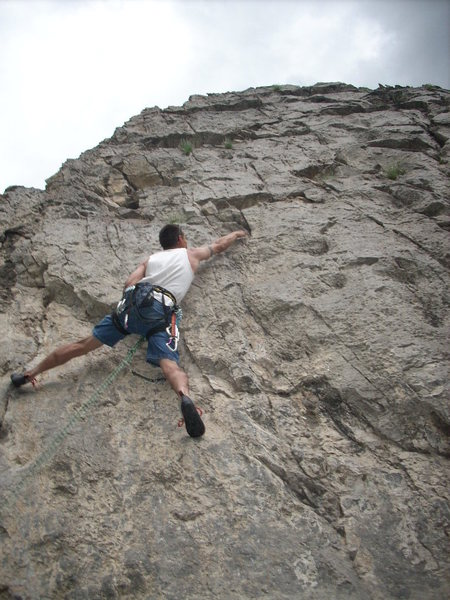 Rock Climbing Photo:  me at the crux bolt #2