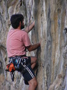 Rock Climbing Photo: Bill moving through the bottom stalactites on Out ...