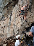 Rock Climbing Photo: Tony starting up Calypso.
