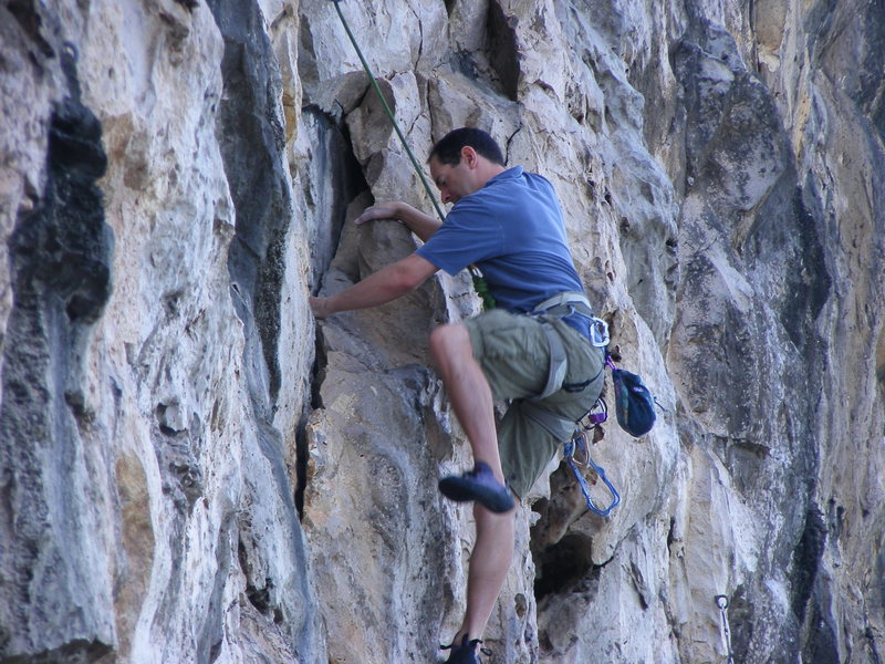 Rock Climbing Photo: Simon on the starting crack of Booby Eggs for Brea...