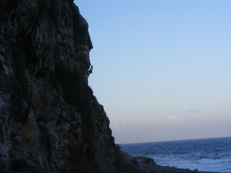 Rock Climbing Photo: Bill topping out in the twilight of the sunset on ...