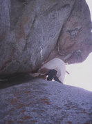 Rock Climbing Photo: Jeff Lowe just past the crux during the FFA. He's ...