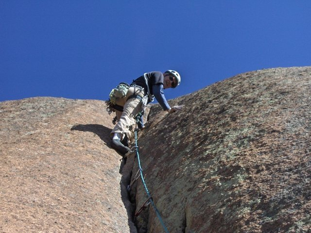 Rock Climbing Photo: Roland at the end of the crack on the 5.10R finish...